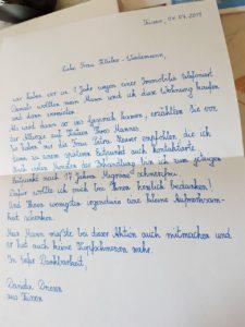Schreiben Frau Driesen